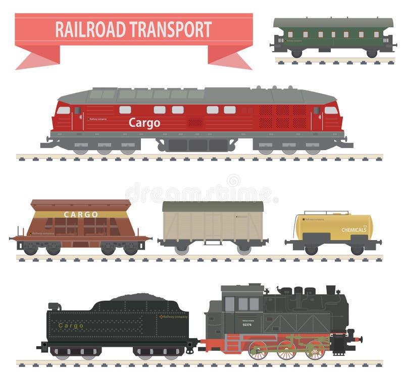 Поезда. Комплект железной дороги бесплатная иллюстрация