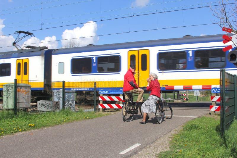 Поезд голландца проходит железнодорожный переезд, Голландию стоковое изображение rf