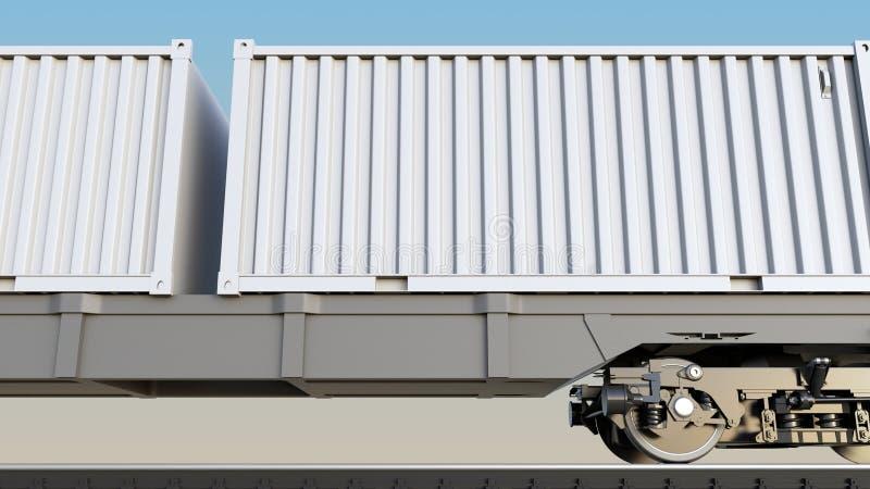 Поезд груза и пустые белые контейнеры Железнодорожный транспорт перевод 3d иллюстрация штока