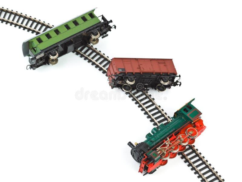 Поезд игрушки аварии стоковое фото