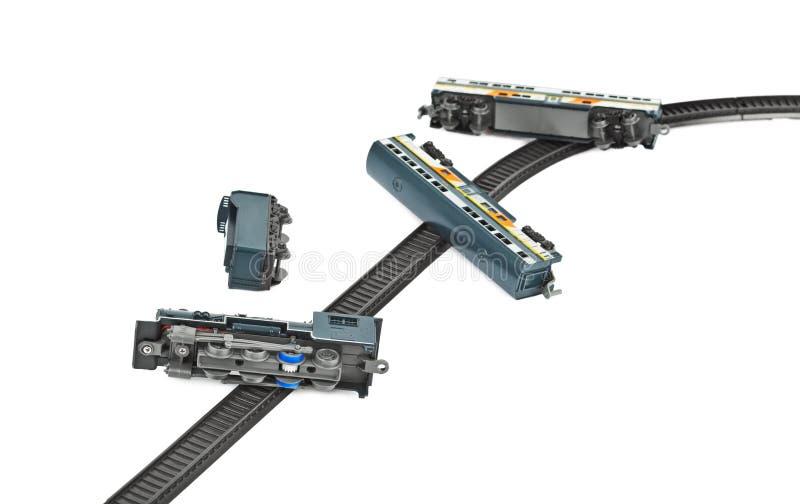 Поезд игрушки аварии стоковые изображения rf