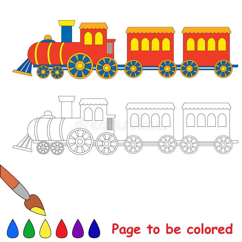 Поезд игрушки красный голубой иллюстрация вектора