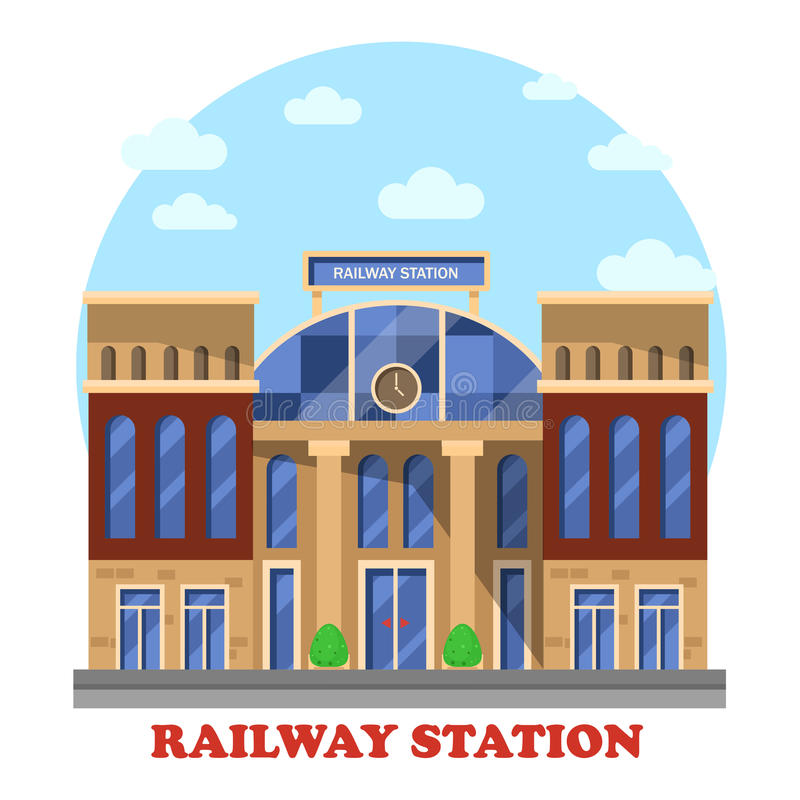 Поезд и железная дорога, железнодорожная станция или депо иллюстрация штока
