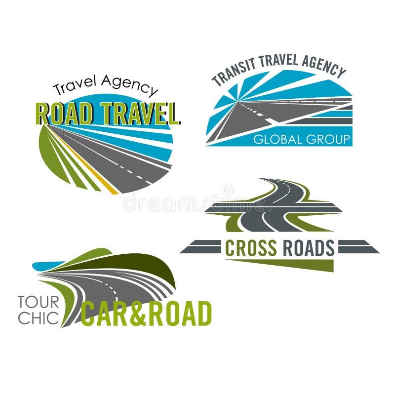 Поездка и комплект значка путешествия автомобиля для перемещения конструируют иллюстрация вектора