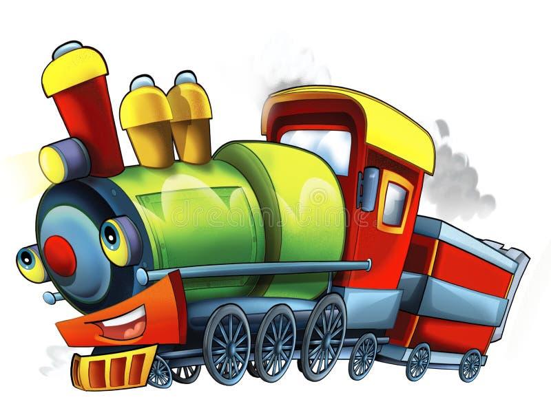 Поезд пара шаржа - карикатура - иллюстрация для детей иллюстрация вектора