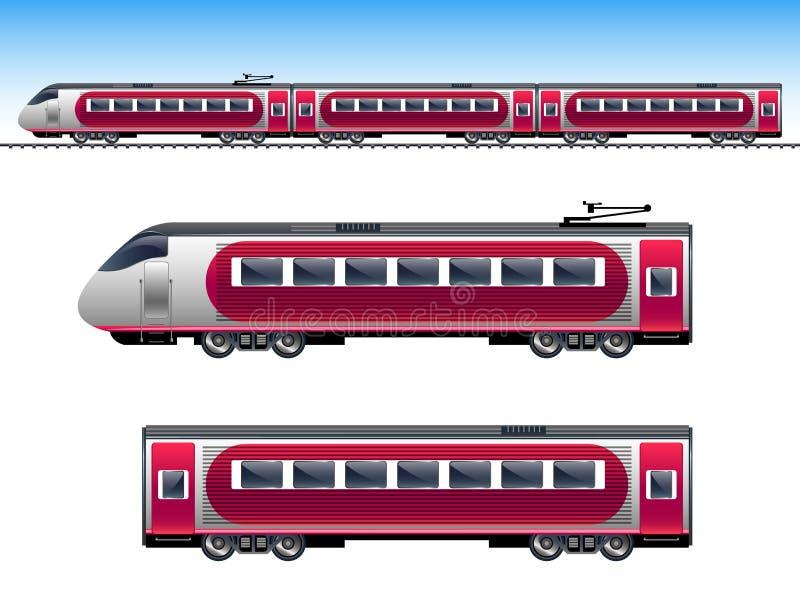 Поезд пассажира красный иллюстрация вектора