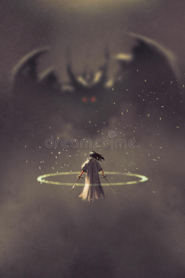 Поединок между рыцарем и дьяволом бесплатная иллюстрация