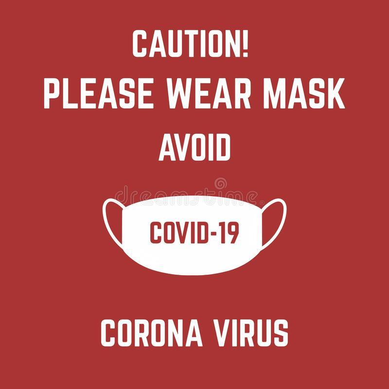 Пожалуйста, надевайте маску, чтобы избежать иллюстрации вируса короны covid-19 на красном фоне стоковая фотография rf