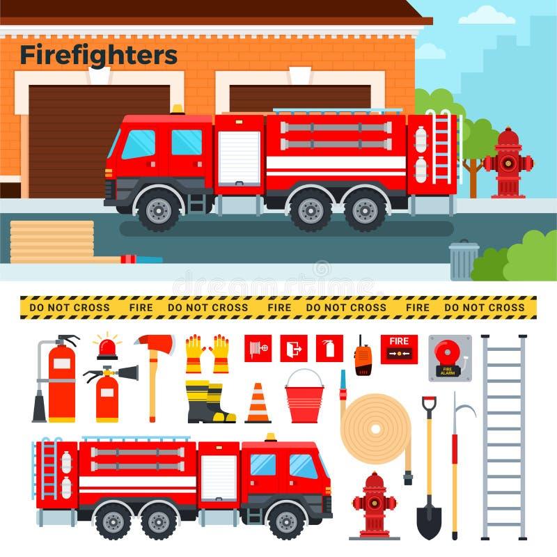 Пожарная машина ждать на улице иллюстрация вектора