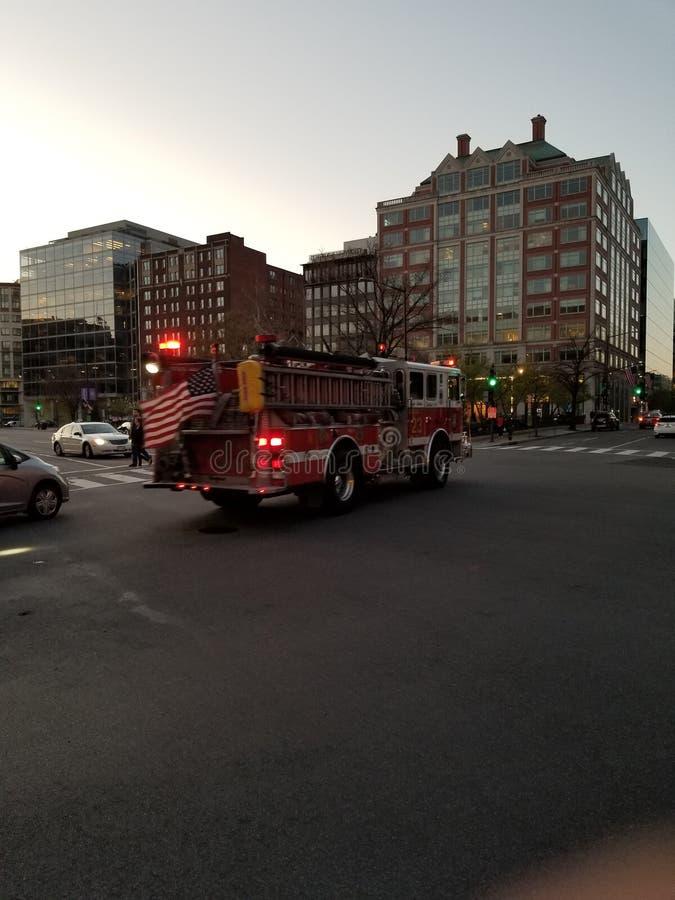 Пожарная машина на беге стоковое фото rf