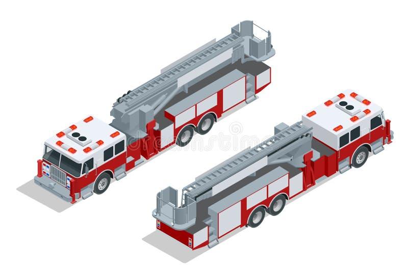 Пожарная машина на спешке Помощь пожаротушения и жертвы Плоский равновеликий высококачественный значок перехода города 3d бесплатная иллюстрация