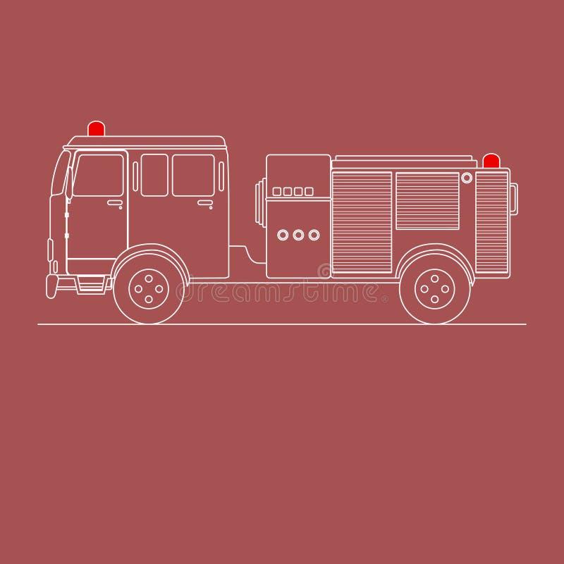Пожарная машина на спешке бесплатная иллюстрация