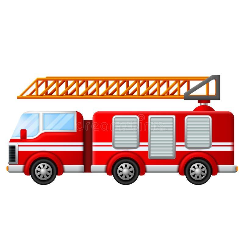 Пожарная машина с лестницей иллюстрация вектора