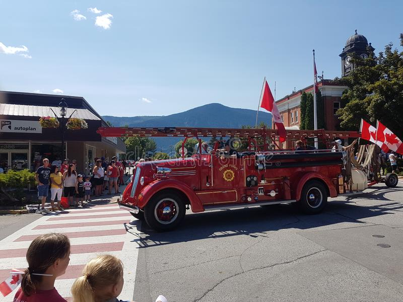 Пожарная машина Grand Forks ДО РОЖДЕСТВА ХРИСТОВА стоковое фото