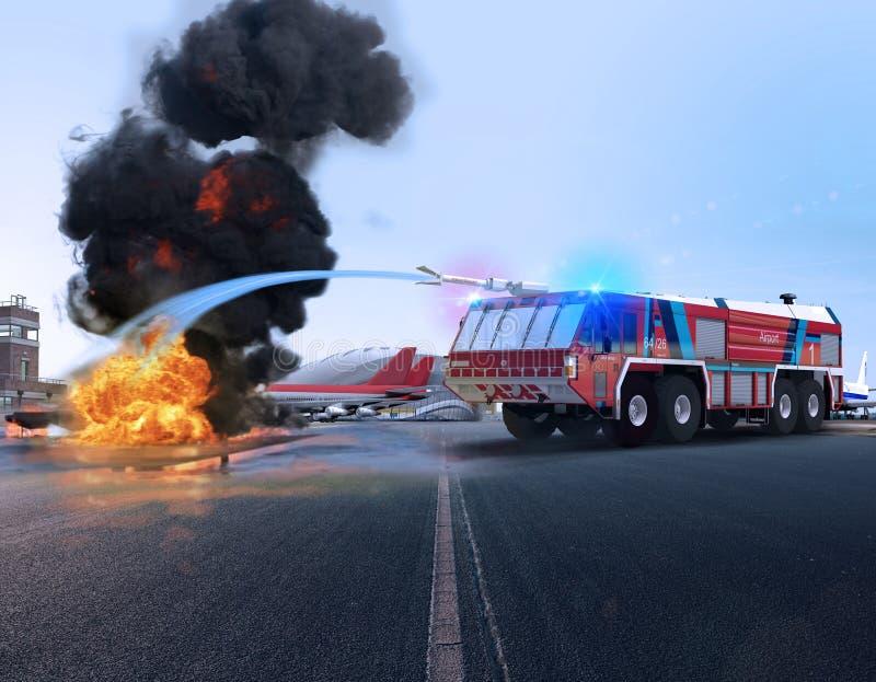 Пожарная машина Simba аэропорта в действии иллюстрация вектора
