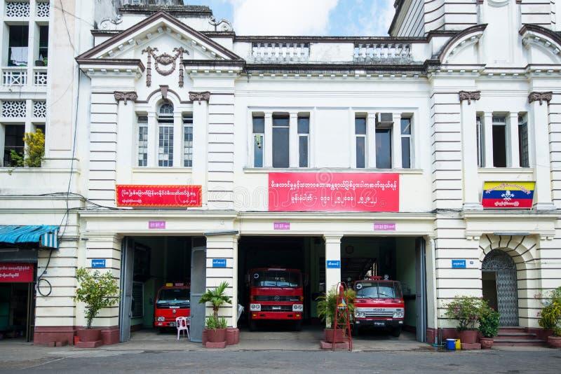Пожарное депо в Янгоне стоковые изображения