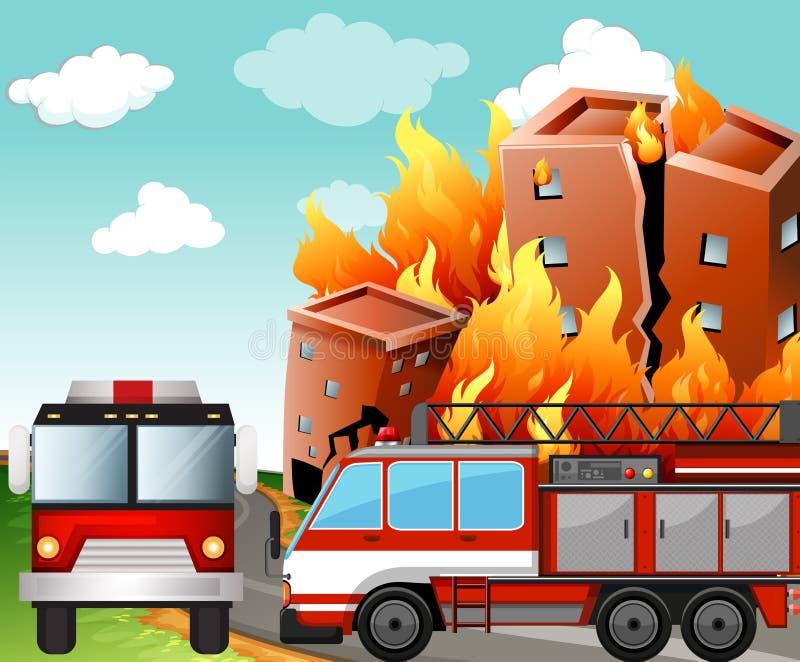 Пожарные машины на сцене огня иллюстрация вектора