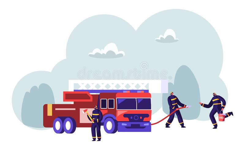 Пожарные объединяются в команду около оси удерживания тележки пожарного в руках распыляя воду от шланга, принося воду в ведре иллюстрация вектора