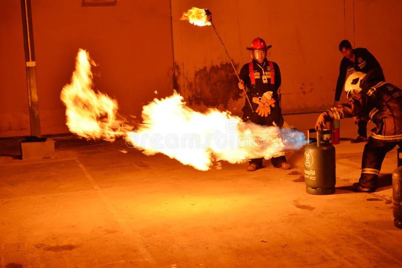 Пожарные тренируя репетицию для безопасности и знания стоковое изображение rf