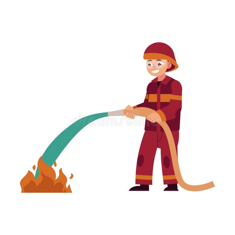 Пожарный в красных защитных стойках формы и шлема держа шланг и туша огонь с водой иллюстрация штока