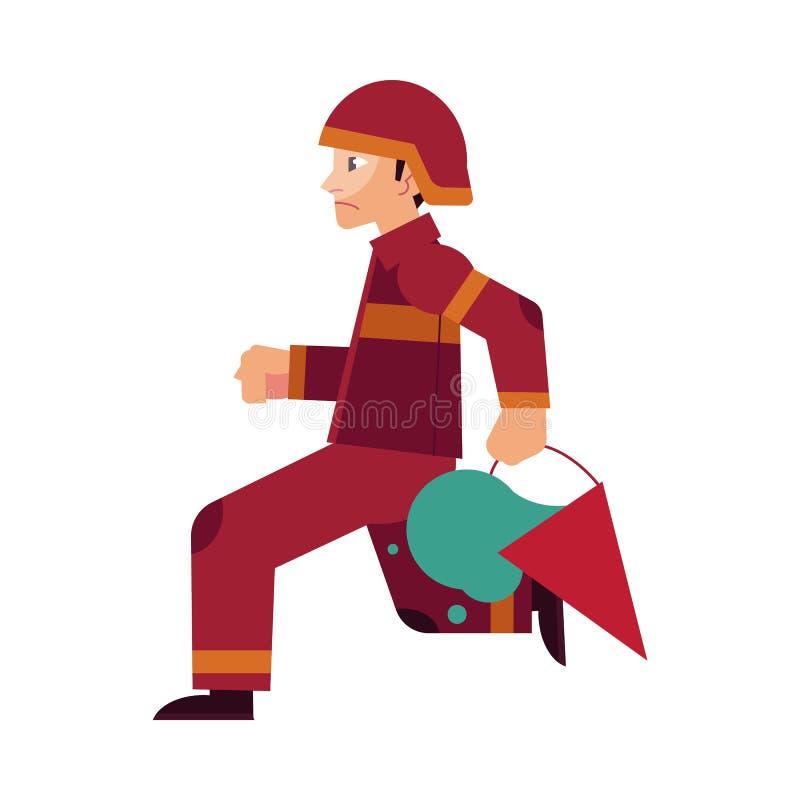 Пожарный в красных защитных форме и шлеме бежит держать ведро конуса с водой для того чтобы потушить огонь иллюстрация вектора