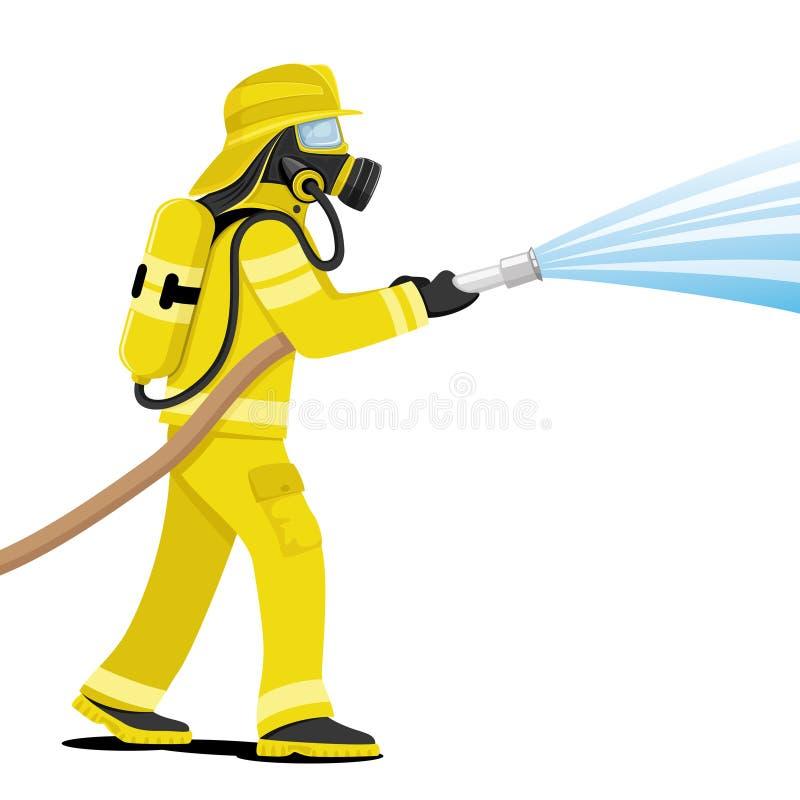 Пожарный в маске противогаза иллюстрация вектора