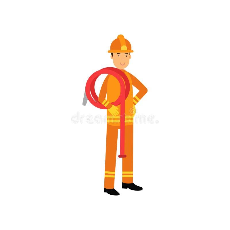 Пожарный в равномерном и защитном шлеме, держа крен шланга воды на его плече иллюстрация вектора
