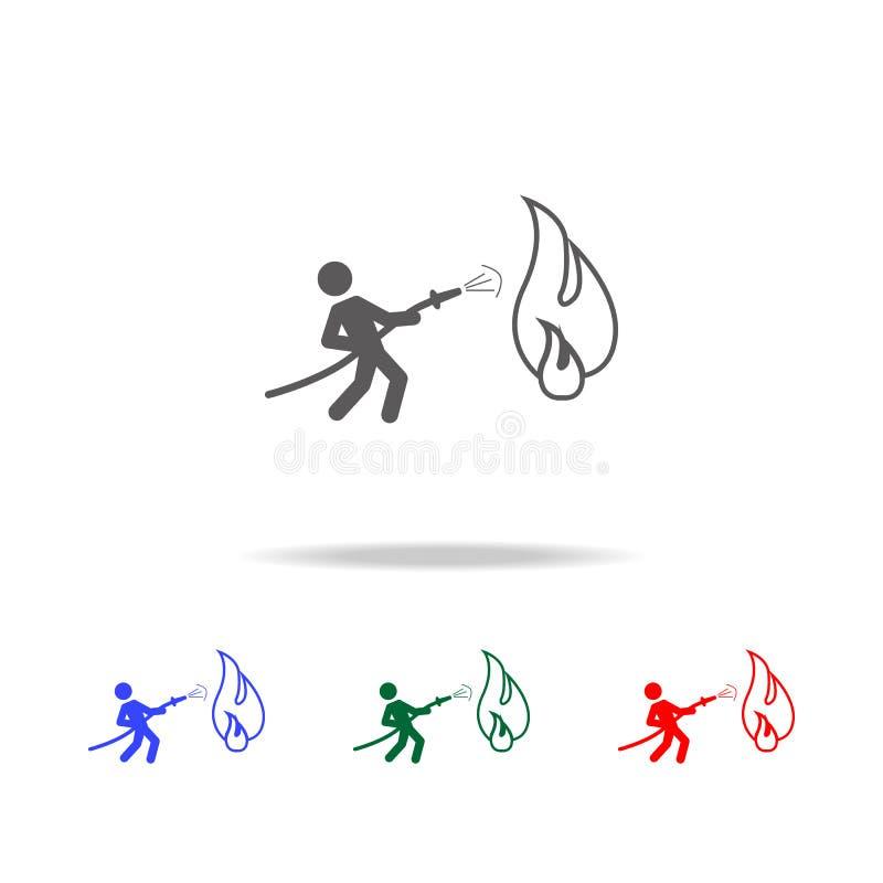 Пожарный держа шланг туша огонь с значком воды Элементы значков пожарного multi покрашенных Наградное качественное графическое de бесплатная иллюстрация