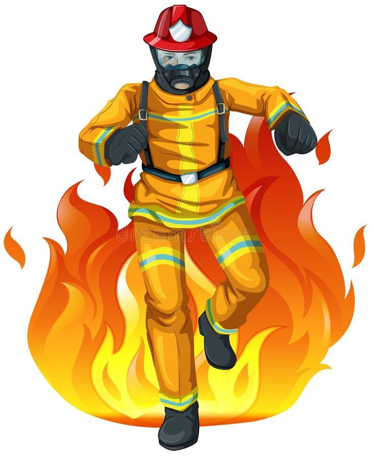 Пожарный и большой огонь иллюстрация вектора