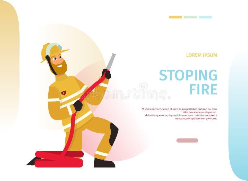 Пожарный концепции мультфильма иллюстрации вектора иллюстрация вектора