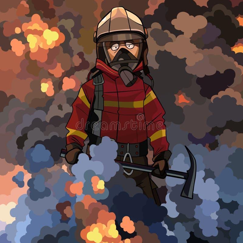 Пожарный мультфильма с выбором в его руках в слойке дыма иллюстрация штока