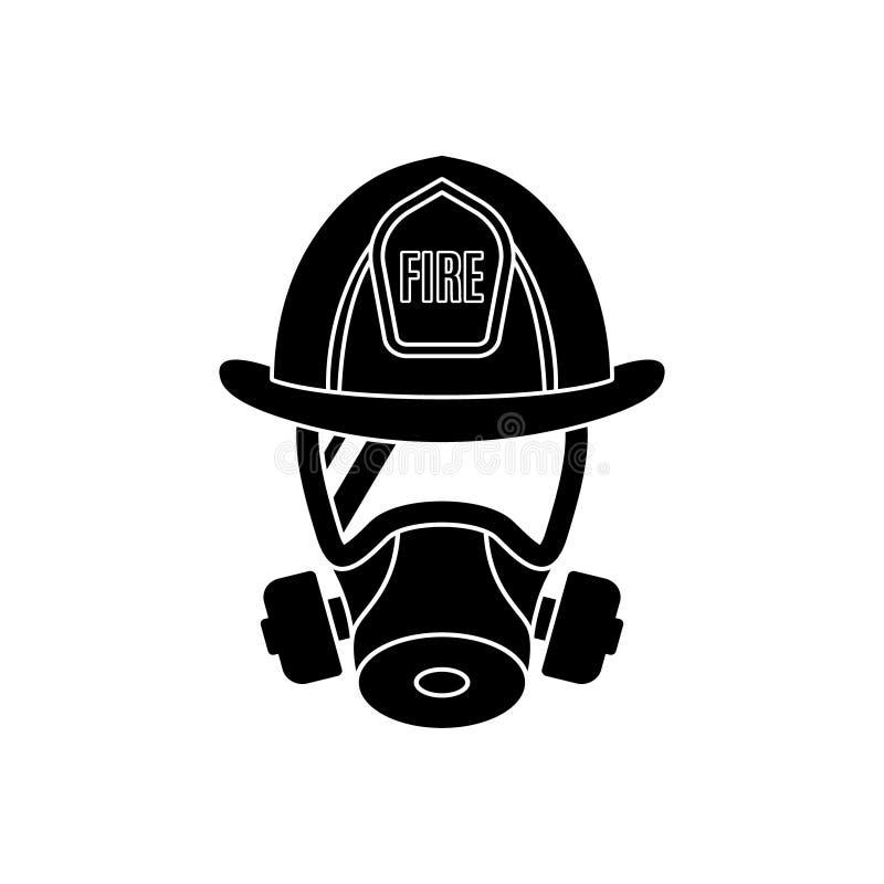 Пожарный нося защитные маску противогаза и шлем иллюстрация штока
