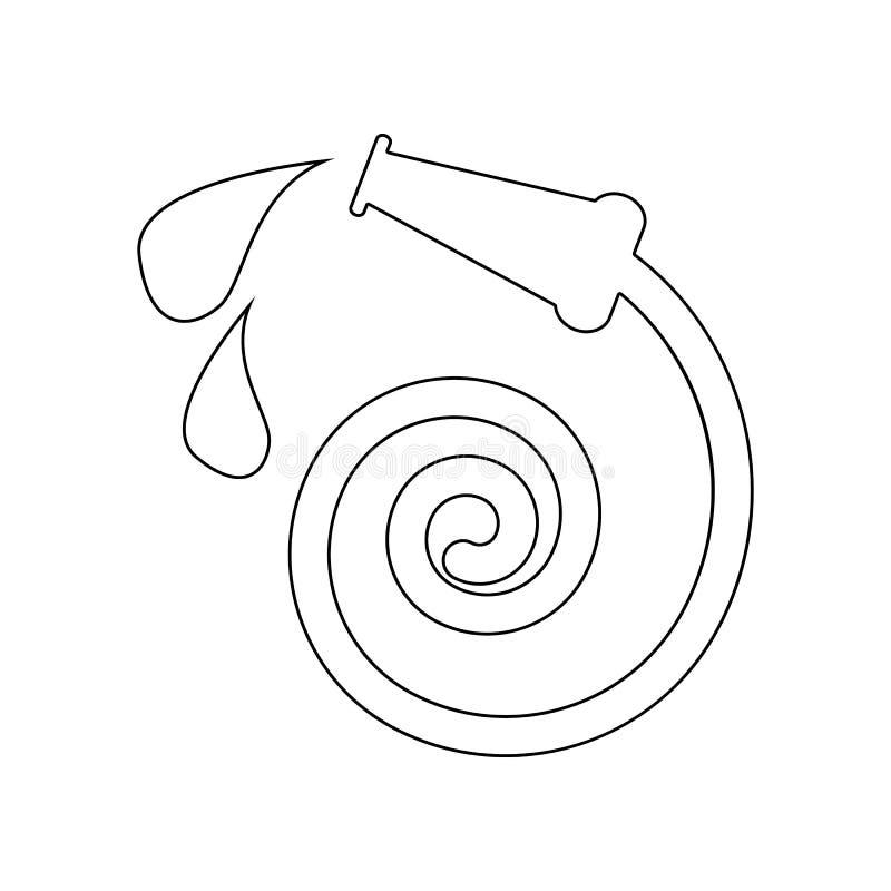 Пожарный рукав со значком падений воды Элемент пожарного для мобильных концепции и значка приложений сети r иллюстрация вектора