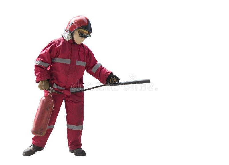 Пожарный с маской стоковое фото rf