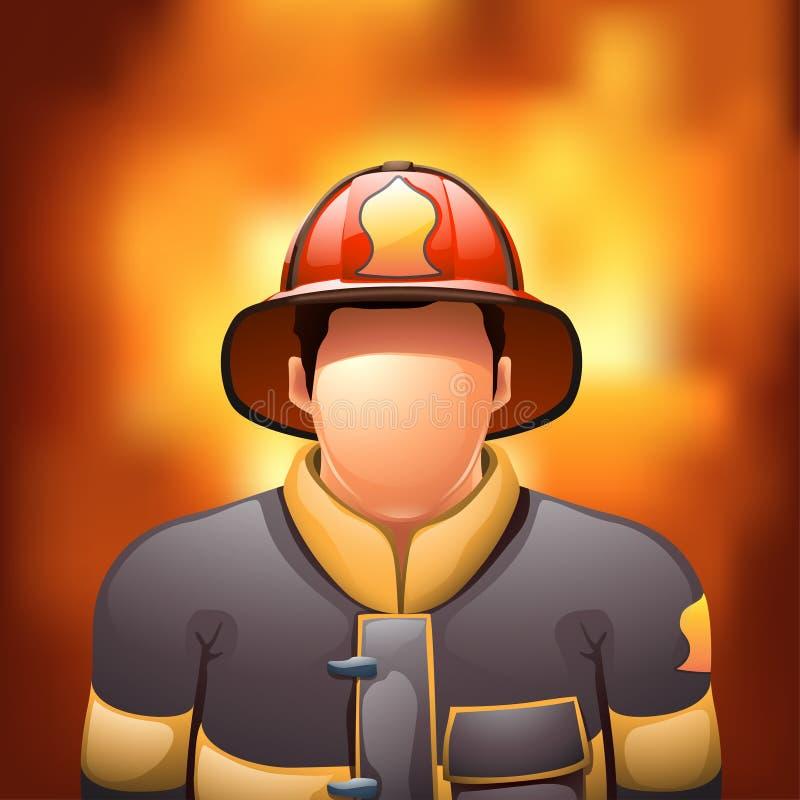 Пожарный с огнем иллюстрация вектора