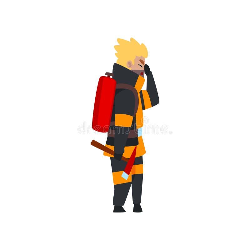 Пожарный с огнетушителем и осью, характером пожарного в форме на иллюстрации вектора работы на белом иллюстрация вектора