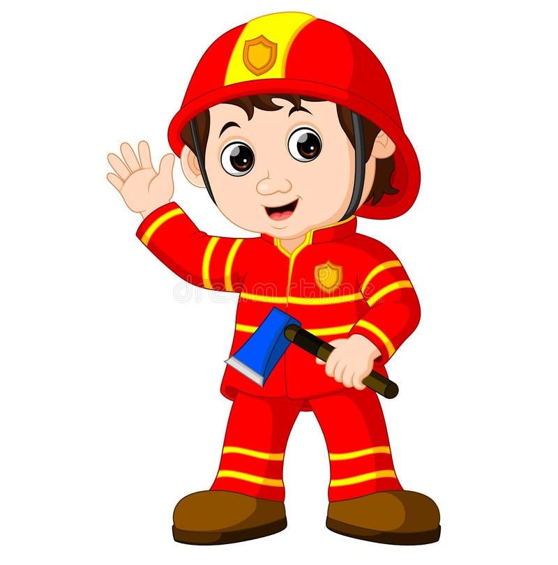 Пожарный с осью бесплатная иллюстрация