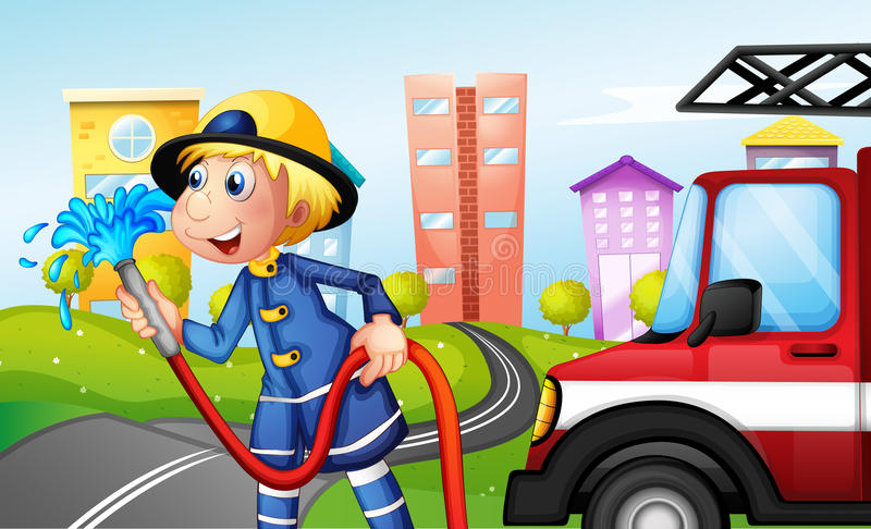 Пожарный с шлангом на улице Стоковые Фото