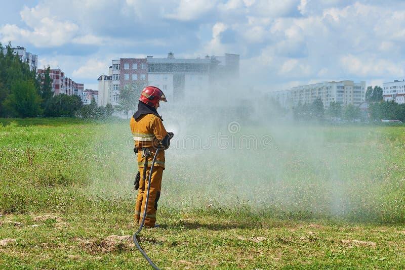 Пожарный человека от пожарного рукава моча траву стоковые изображения rf