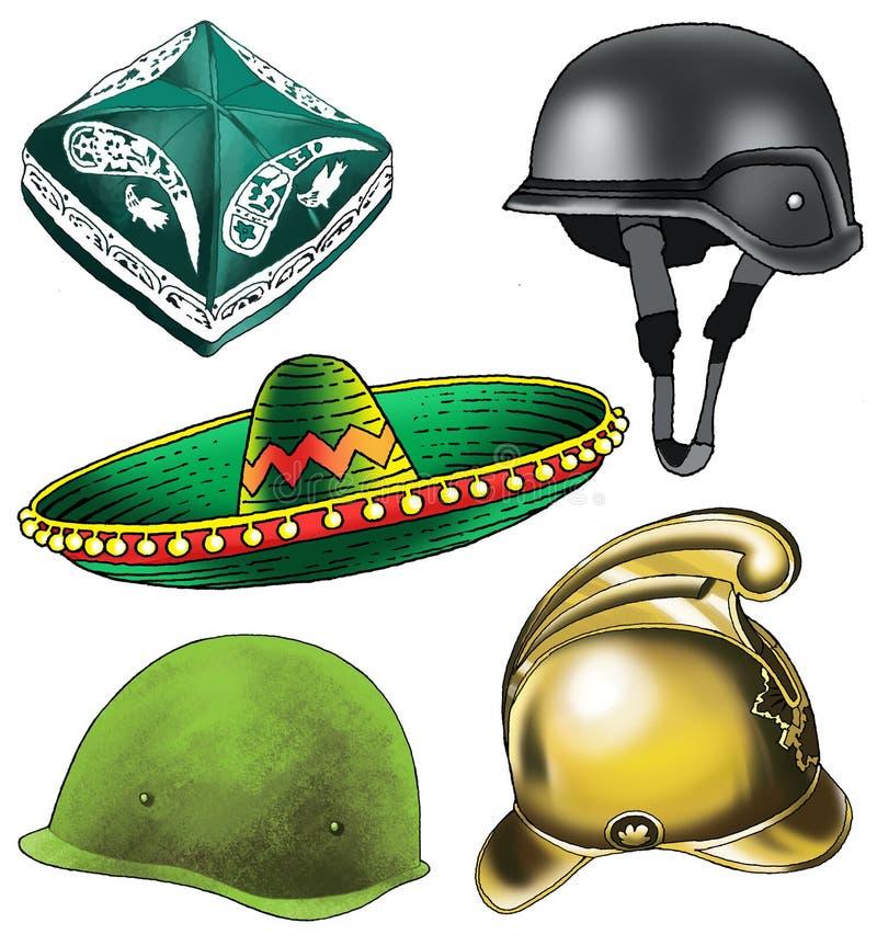 Пожарный шлема тюбетейки sombrero шляпы заставки бесплатная иллюстрация