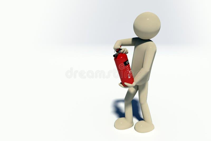 пожарный 3d иллюстрация вектора