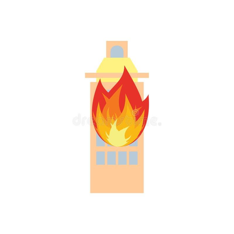 Пожар в здании Пламена от окон офиса Дом поджога Ожог f иллюстрация вектора