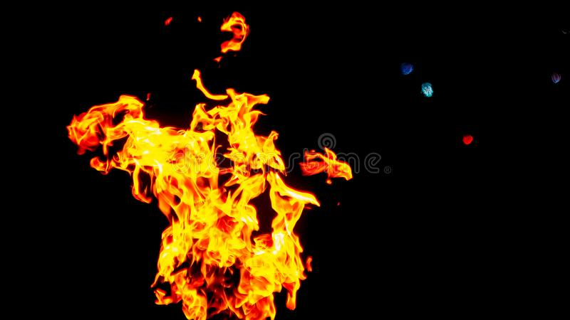 пожар детали предпосылки черный пылает хорошая вертикаль highlights мягко огонь на черной изолированной предпосылке Картины огня стоковое фото