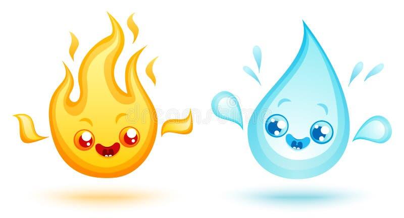 Пожар и вода иллюстрация вектора