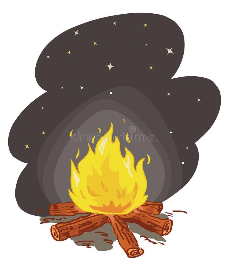 пожар лагеря иллюстрация вектора