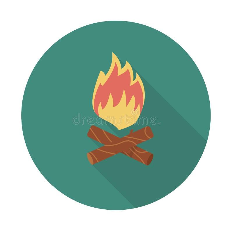 пожар Определите плоский значок цвета с длинной тенью также вектор иллюстрации притяжки corel иллюстрация вектора