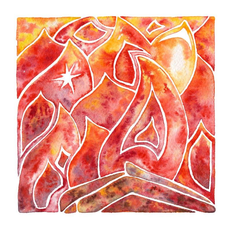 пожар Пламя Естественный элемент акварели иллюстрация вектора