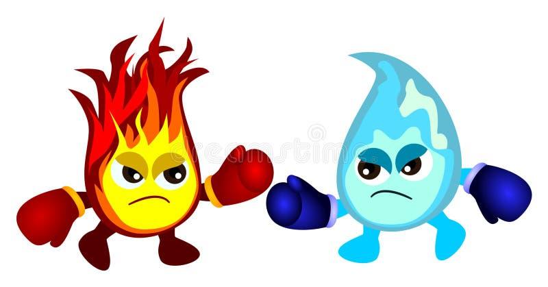 пожар против воды иллюстрация штока