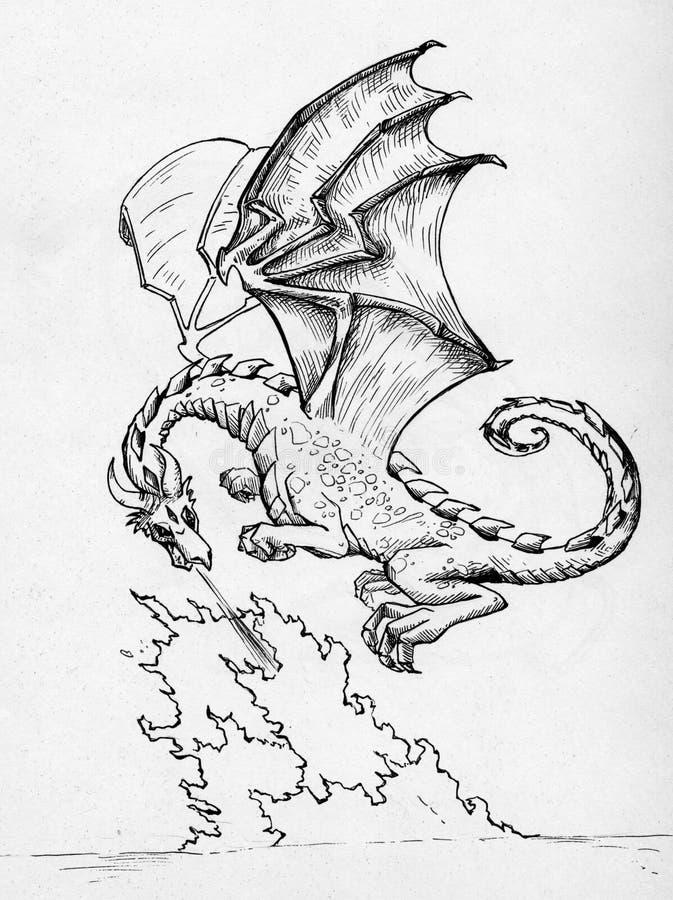 Пожар дракона дышая иллюстрация штока