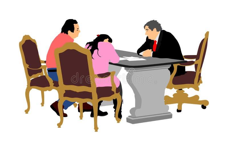 Пожененная старшая пара подписывает контракт с управляющим банком, иллюстрацией вектора Контракт недвижимости подписания иллюстрация вектора
